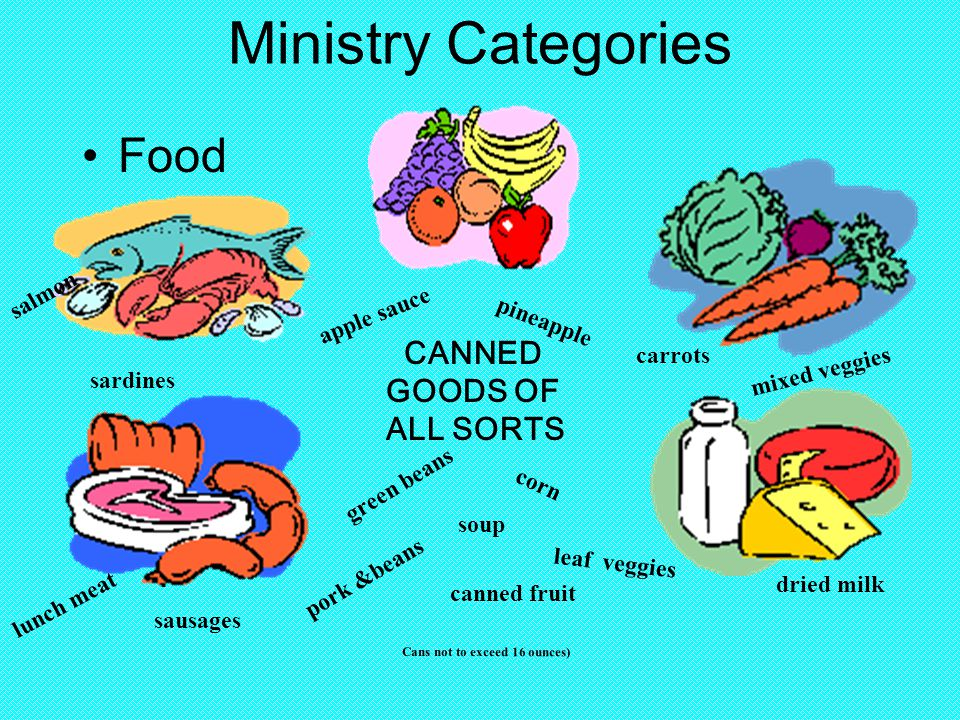 Ministry Categories Food CANNED GOODS OF ALL SORTS canned fruit green beans corn leaf veggies soup pork &beans dried milk lunch meat salmon sardines carrots apple sauce sausages pineapple Cans not to exceed 16 ounces) mixed veggies