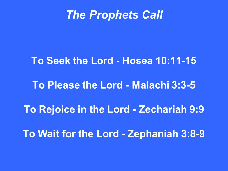 The Prophets Call To Seek the Lord - Hosea 10:11-15 To Please the Lord - Malachi 3:3-5 To Rejoice in the Lord - Zechariah 9:9 To Wait for the Lord - Zephaniah 3:8-9