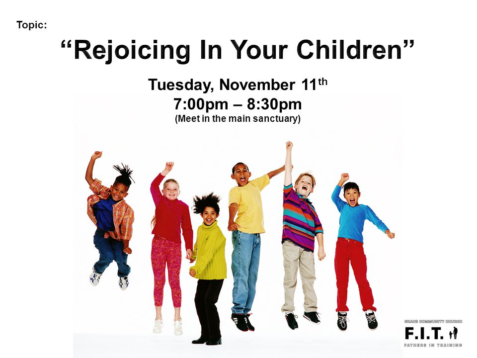 Topic: Tuesday, November 11 th 7:00pm – 8:30pm (Meet in the main sanctuary)