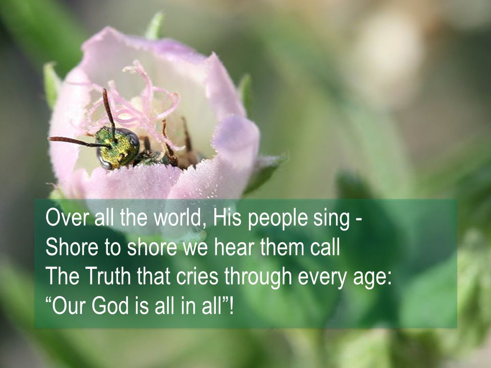 Over all the world, His people sing - Shore to shore we hear them call The Truth that cries through every age: Our God is all in all !