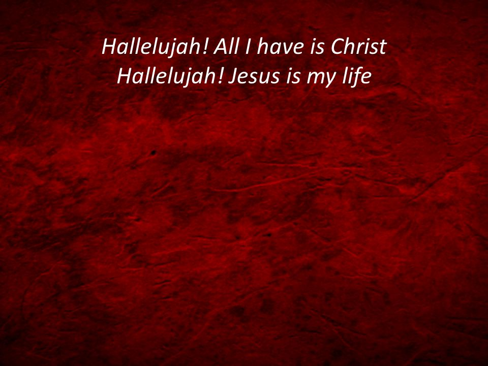 Hallelujah! All I have is Christ Hallelujah! Jesus is my life