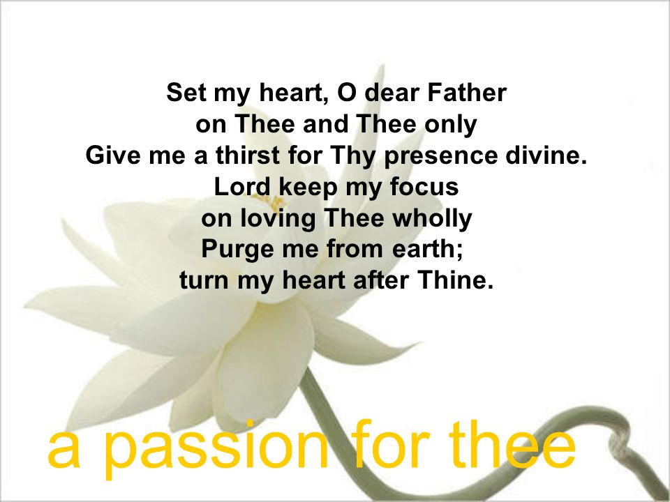 Set my heart, O dear Father on Thee and Thee only Give me a thirst for Thy presence divine. Lord keep my focus on loving Thee wholly Purge me from ear