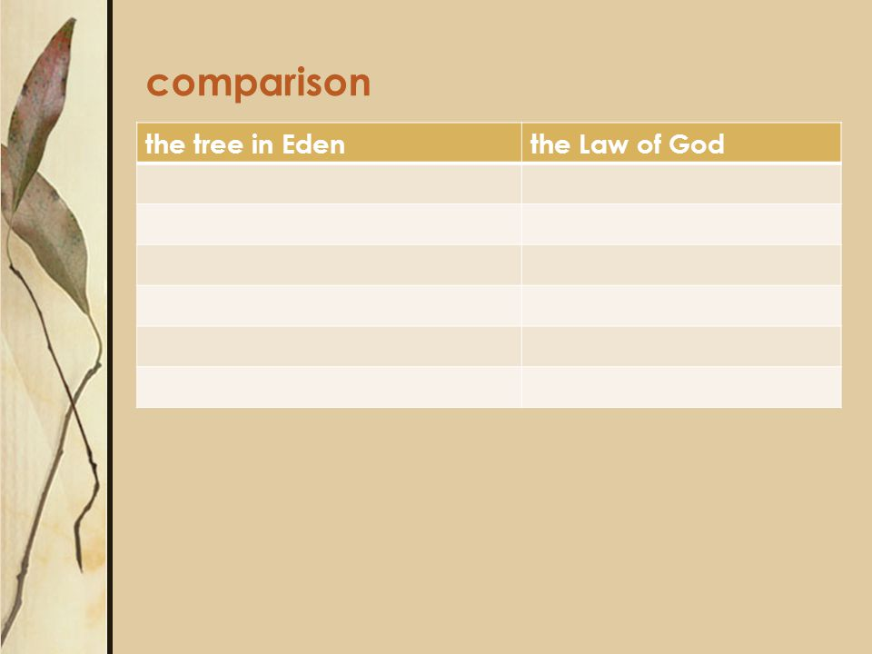 comparison the tree in Edenthe Law of God