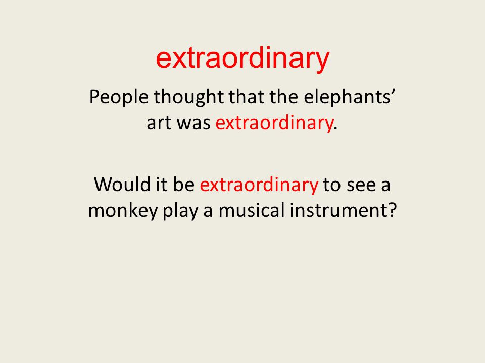 extraordinary People thought that the elephants' art was extraordinary.