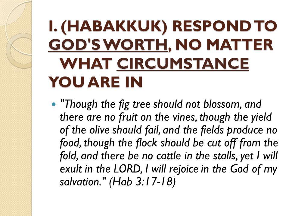 HABAKKUK TEACHES US TO revere God s worth (glory, greatness, majesty).