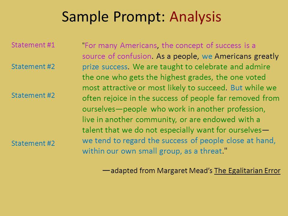 Sample Prompt: Analysis Statement #1 Statement #2