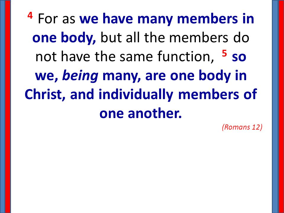 4 For as we have many members in one body, but all the members do not have the same function, 5 so we, being many, are one body in Christ, and individ