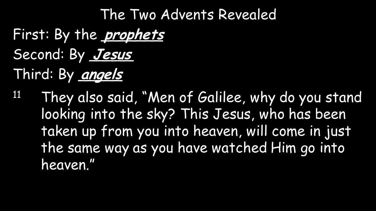 "The Two Advents Revealed First: By the _______prophets Second: By _____Jesus Third: By _____angels 11 They also said, ""Men of Galilee, why do you stan"