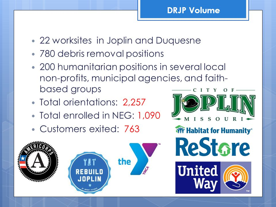 22 worksites in Joplin and Duquesne 780 debris removal positions 200 humanitarian positions in several local non-profits, municipal agencies, and fait