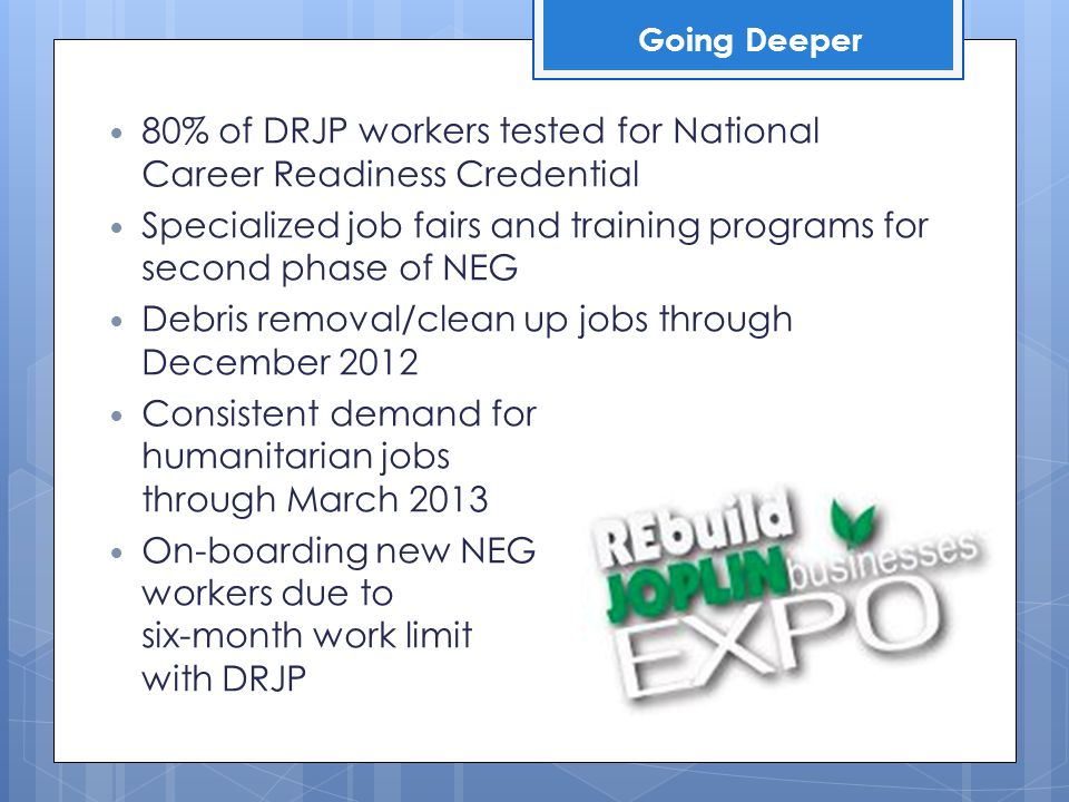 80% of DRJP workers tested for National Career Readiness Credential Specialized job fairs and training programs for second phase of NEG Debris removal