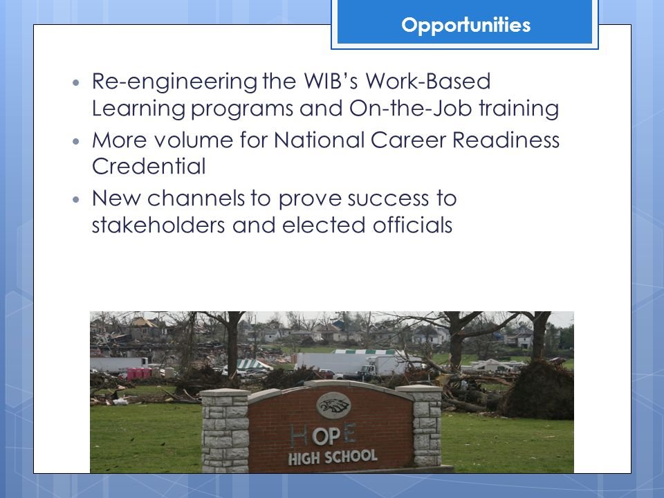 Re-engineering the WIB's Work-Based Learning programs and On-the-Job training More volume for National Career Readiness Credential New channels to prove success to stakeholders and elected officials Opportunities