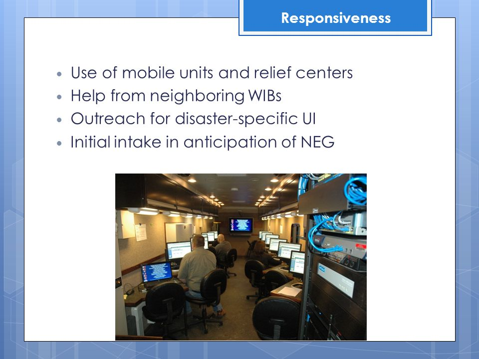 Alignment of disaster recovery projects with long-term workforce priorities Hard re-boot of eco devo strategies Recovery vs.