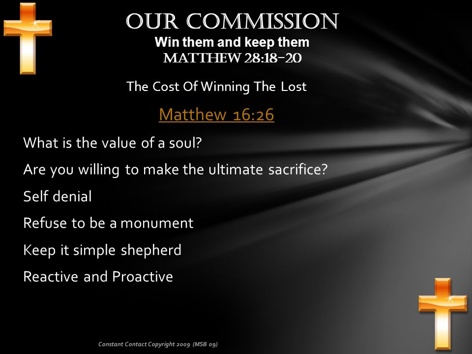 Commitment Sheet: Whenever we get our membership involved with constant contact we will see a greater interest in other ministries of the Church.