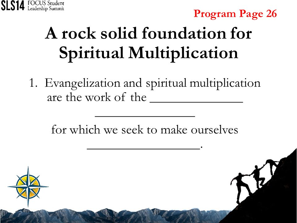 A rock solid foundation for Spiritual Multiplication 1.