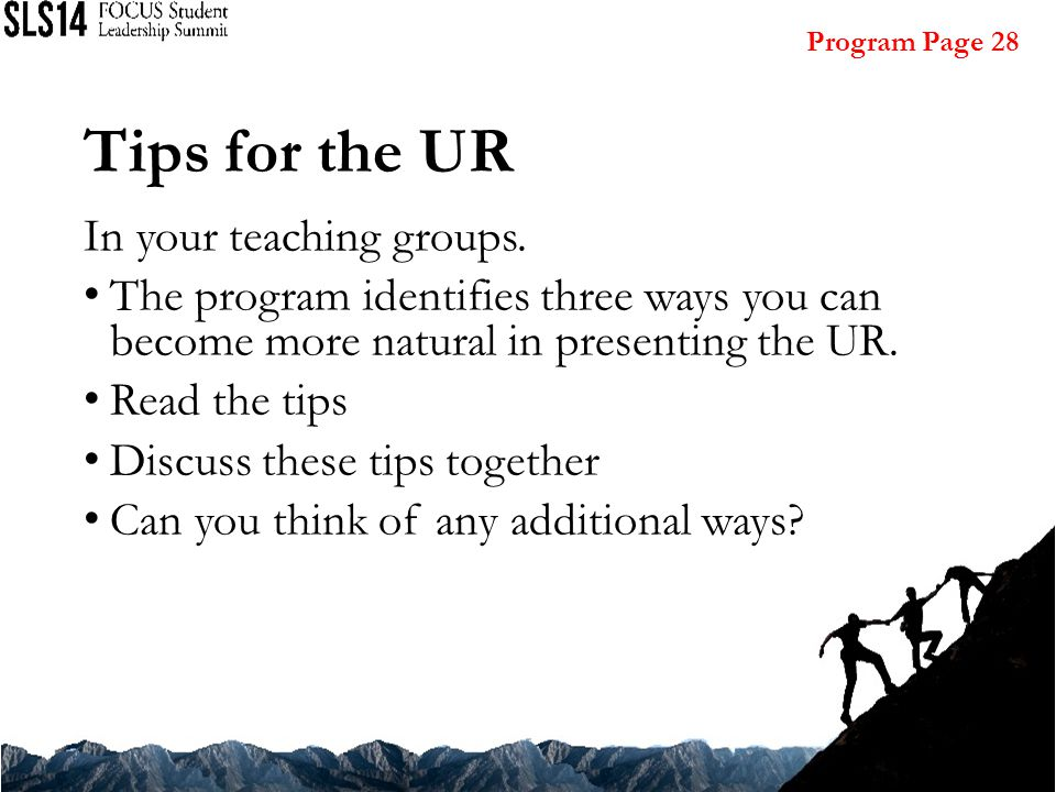 Tips for the UR In your teaching groups.