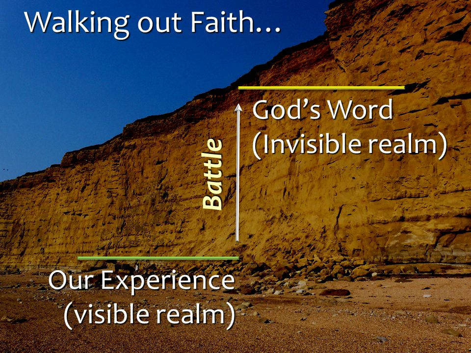 Walking out Faith… Our Experience (visible realm) God's Word (Invisible realm) Battle