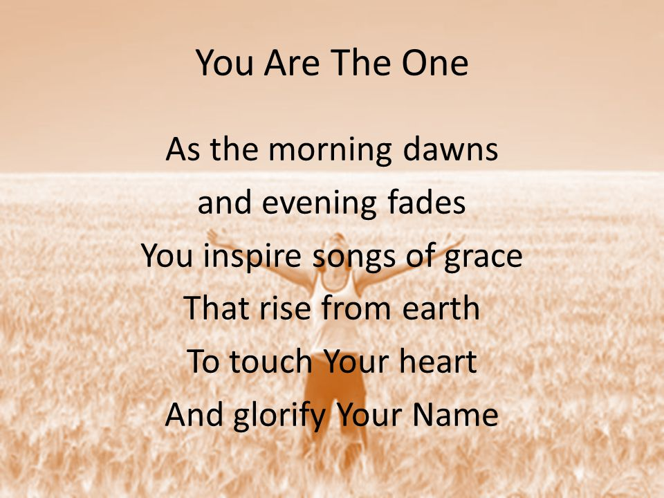 You Are The One As the morning dawns and evening fades You inspire songs of grace That rise from earth To touch Your heart And glorify Your Name