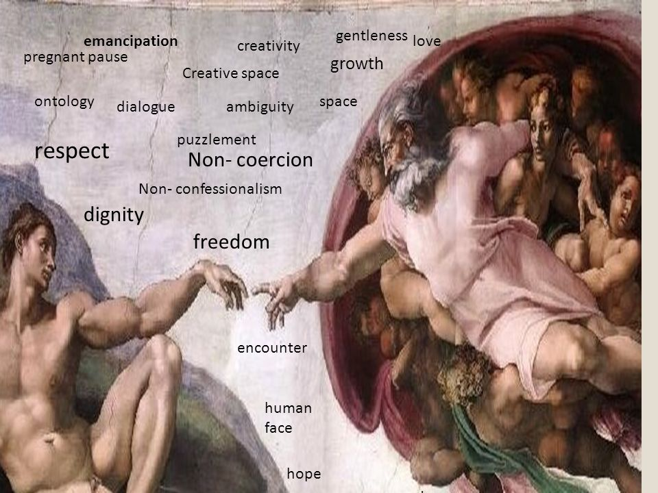 Non- confessionalism freedom Non- coercion respect puzzlement dignity ontology Creative space growth pregnant pause creativity ambiguity emancipation