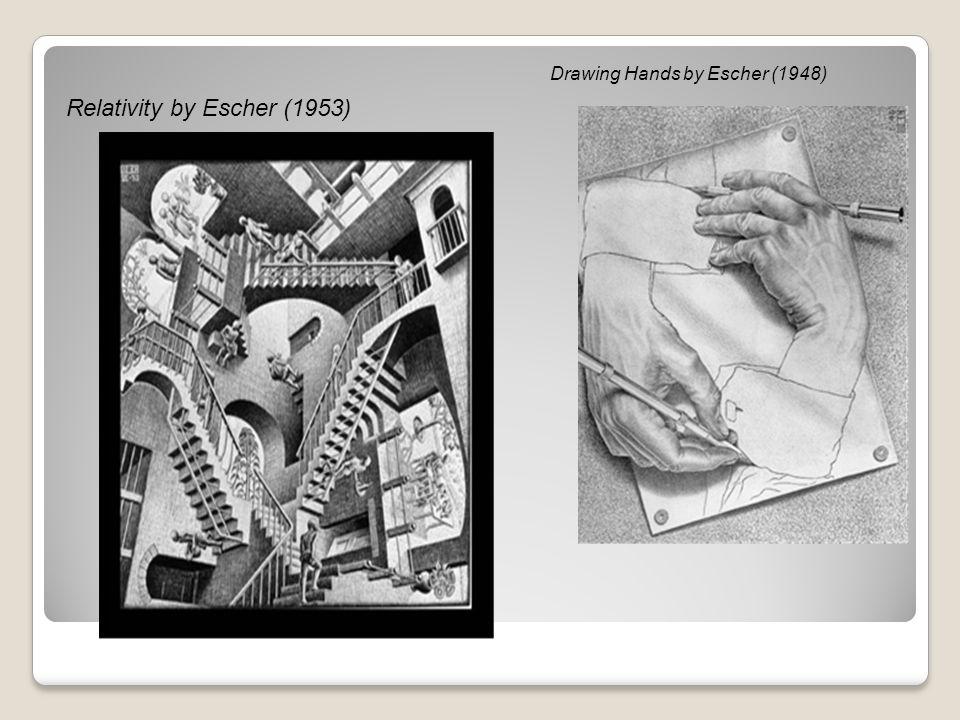 Relativity by Escher (1953) Drawing Hands by Escher (1948)