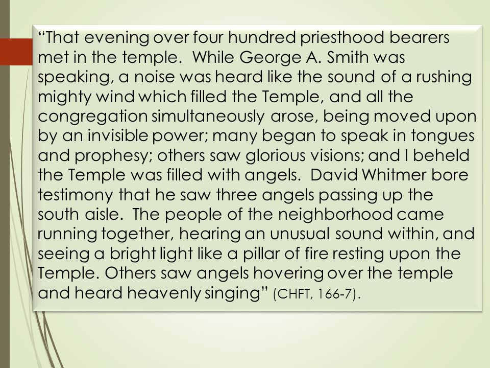 That evening over four hundred priesthood bearers met in the temple.