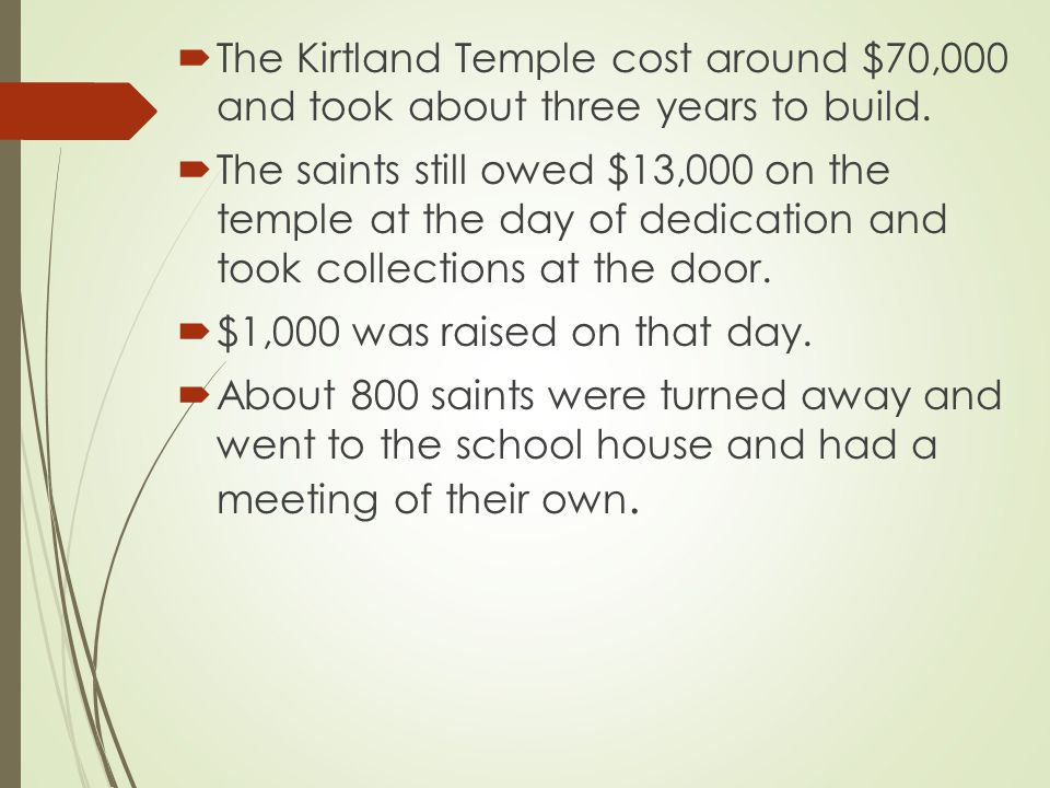  Frazier Eaton, who had previously donated $700.00 was not allowed in the temple because of the lack of seating.