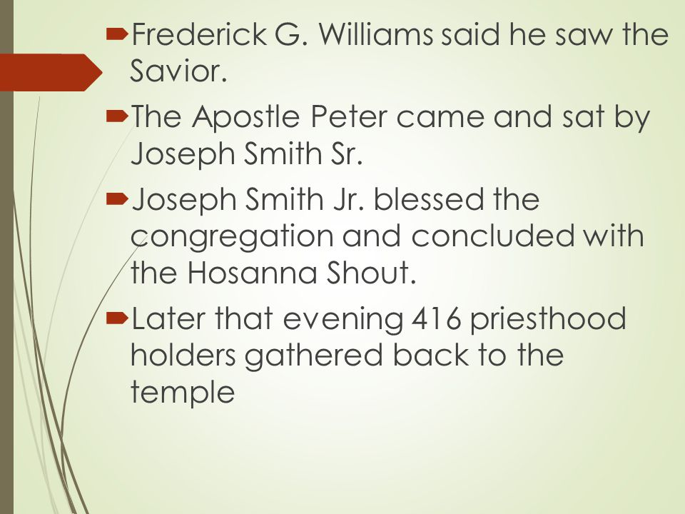 Scripture Reading Psalms 96:6-9 Musical Number Ere Long the Veil will Rend Invocation Sydney Rigdon Musical Number (O happy souls who pray) Choir Speaker (2 ½ Hours) Sydney Rigdon Sustaining Vote Joseph Smith Musical Number Now let us rejoice (#2)