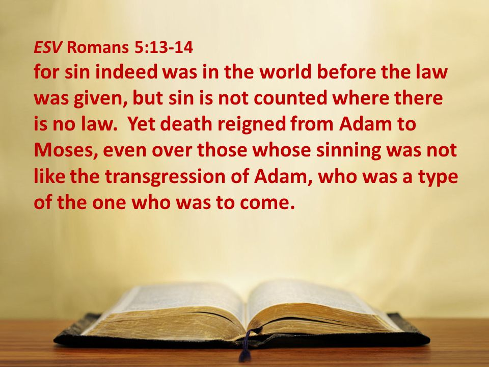 ESV Romans 5:13-14 for sin indeed was in the world before the law was given, but sin is not counted where there is no law.