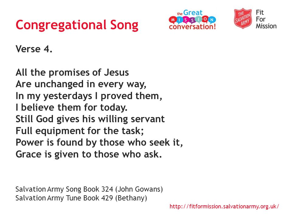 http://fitformission.salvationarmy.org.uk/ We pray… That God would bring spiritual renewal to the Army, and that this might result in more effective holistic mission Thanksgiving for a renewed passion for whole life discipleship in the UKI That in delivering our mission to save souls, grow saints and serve suffering humanity, we too would know the transforming power of God s Holy Spirit Discipleship and spiritual renewal