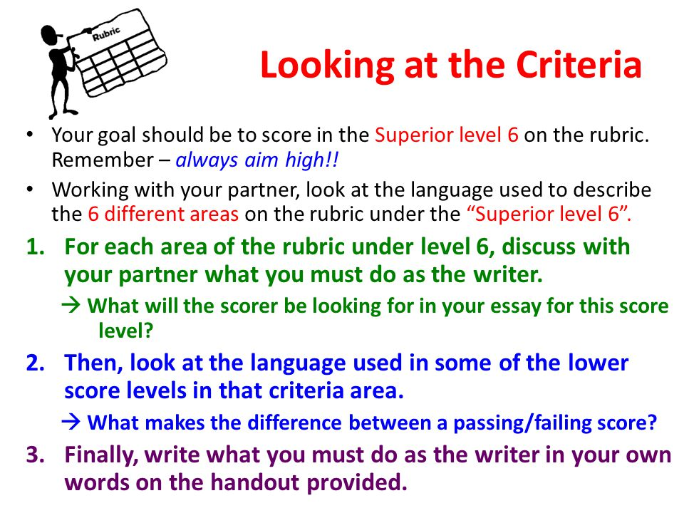 Looking at the Criteria Your goal should be to score in the Superior level 6 on the rubric. Remember – always aim high!! Working with your partner, lo