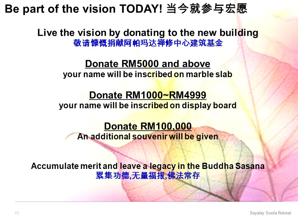 Sayalay Susila Retreat 11 Be part of the vision TODAY.