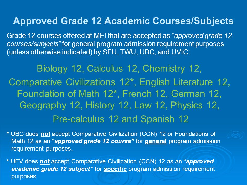 Approved Grade 12 Academic Courses/Subjects Grade 12 courses offered at MEI that are accepted as approved grade 12 courses/subjects for general program admission requirement purposes (unless otherwise indicated) by SFU, TWU, UBC, and UVIC: Biology 12, Calculus 12, Chemistry 12, Comparative Civilizations 12*, English Literature 12, Foundation of Math 12*, French 12, German 12, Geography 12, History 12, Law 12, Physics 12, Pre-calculus 12 and Spanish 12 * UBC does not accept Comparative Civilization (CCN) 12 or Foundations of Math 12 as an approved grade 12 course for general program admission requirement purposes.