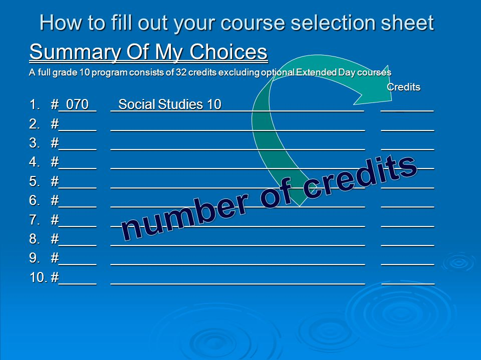 How to fill out your course selection sheet Summary Of My Choices A full grade 10 program consists of 32 credits excluding optional Extended Day courses Credits Credits 1.