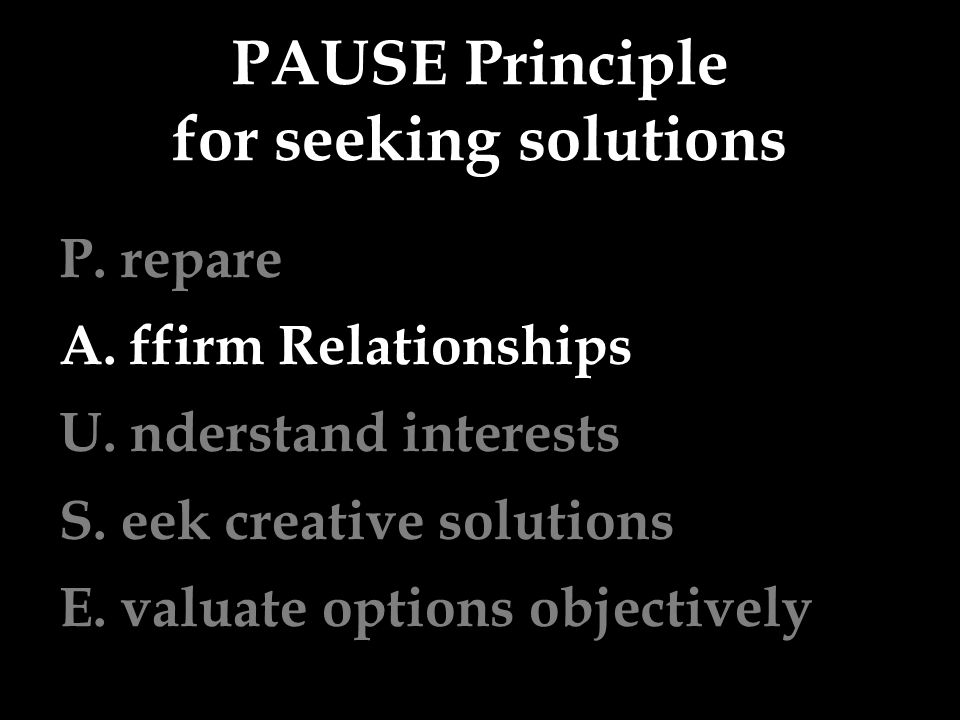 PAUSE Principle for seeking solutions P. repare A.