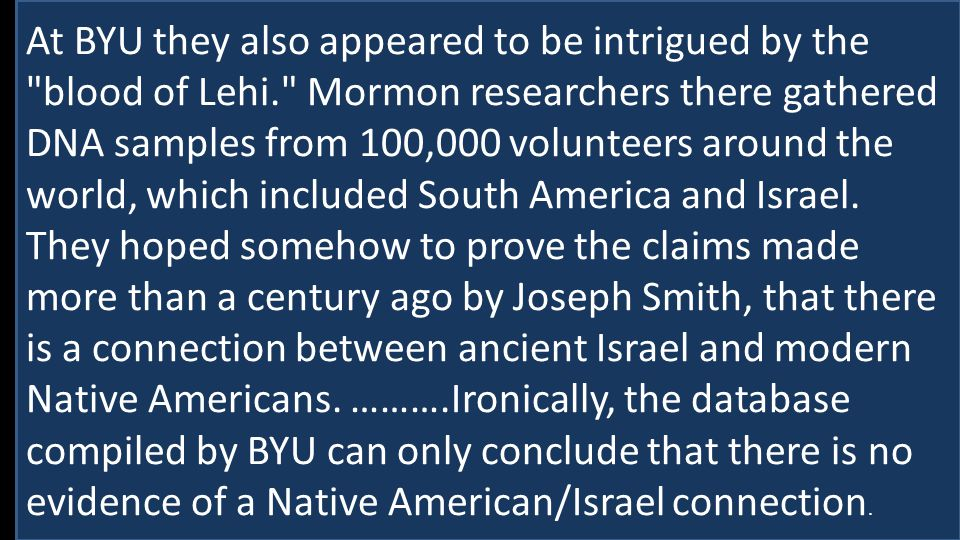 "Do Others Fair as Well? Does the Book of Mormon? Consider the search for ""Lehi"" At BYU they also appeared to be intrigued by the"