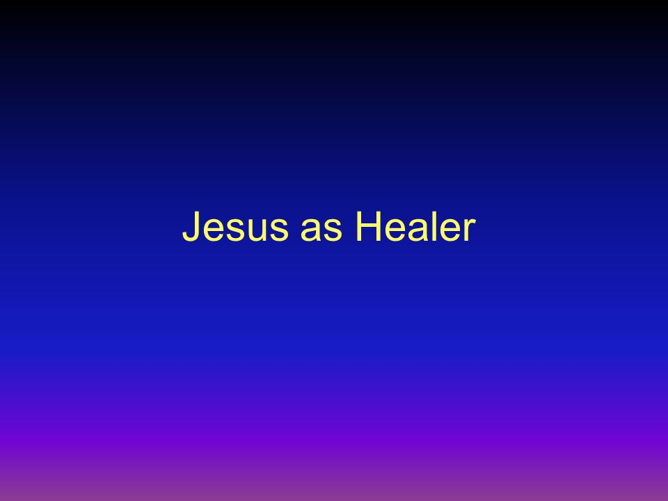 The Significance of Jesus' Healings Jesus Healings as Fulfillment of the Role of the Servant Matt 8:16: When evening came, many who were demon- possessed were brought to him, and he drove out the spirits with a word and healed all the sick.