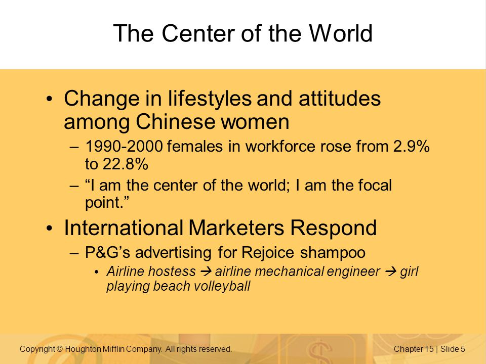 Copyright © Houghton Mifflin Company. All rights reserved.Chapter 15 | Slide 5 The Center of the World Change in lifestyles and attitudes among Chines