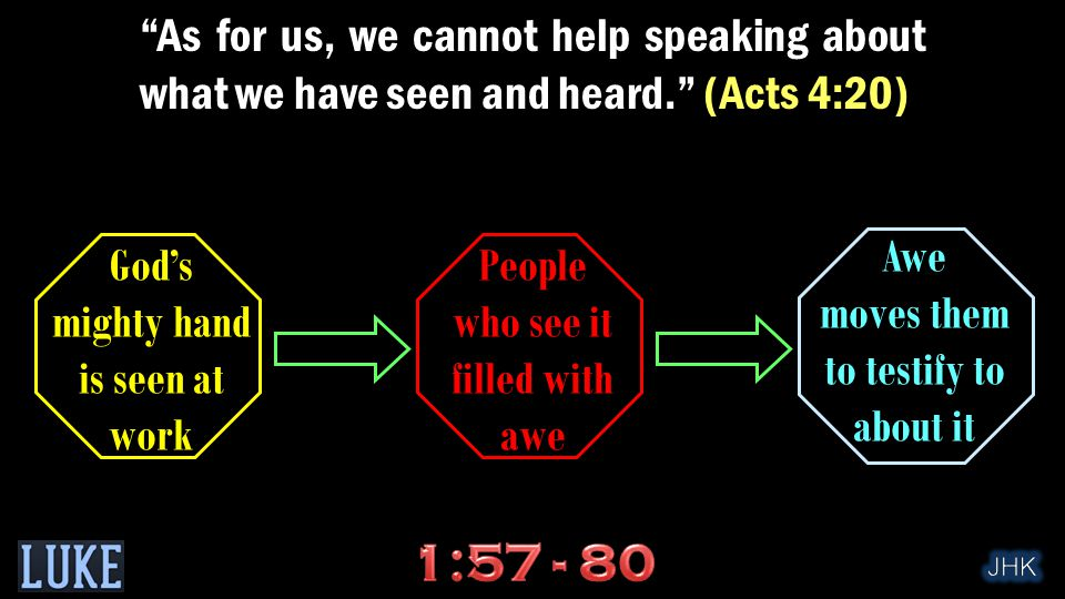 As for us, we cannot help speaking about what we have seen and heard. (Acts 4:20) Awe moves them to testify to about it People who see it filled with awe God's mighty hand is seen at work