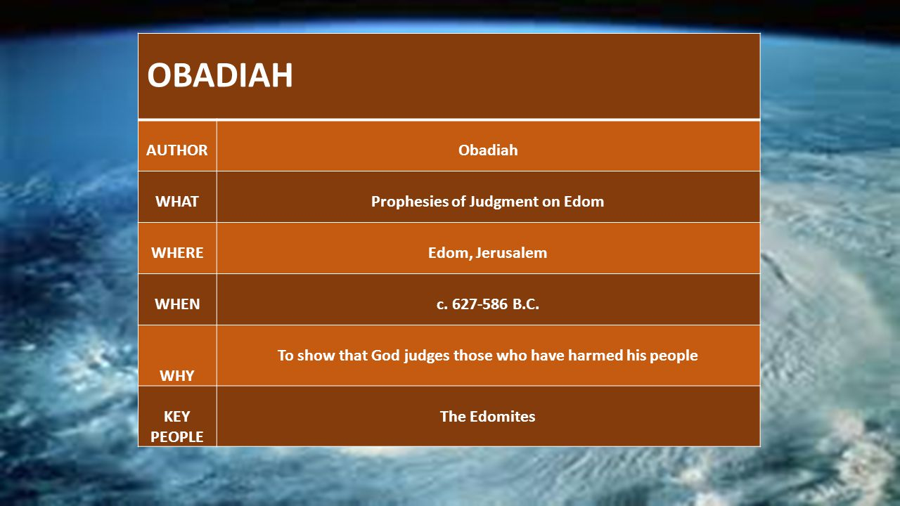 OBADIAH AUTHORObadiah WHATProphesies of Judgment on Edom WHEREEdom, Jerusalem WHENc.