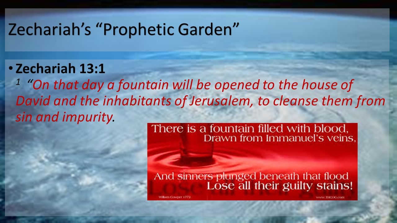 Zechariah's Prophetic Garden Zechariah 13:1 1 On that day a fountain will be opened to the house of David and the inhabitants of Jerusalem, to cleanse them from sin and impurity.