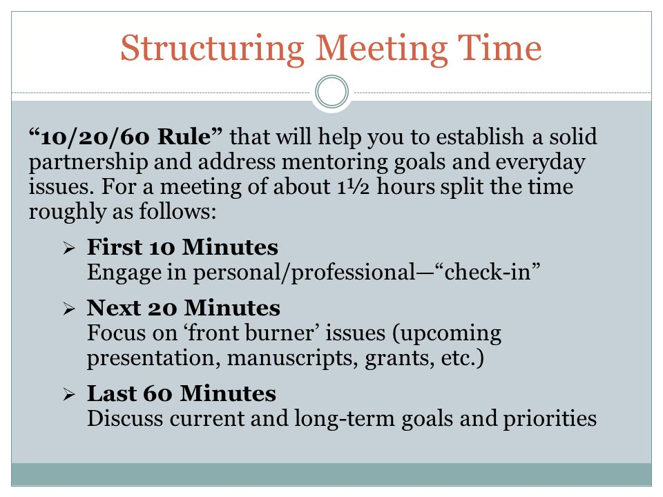 Structuring Meeting Time 10/20/60 Rule that will help you to establish a solid partnership and address mentoring goals and everyday issues.