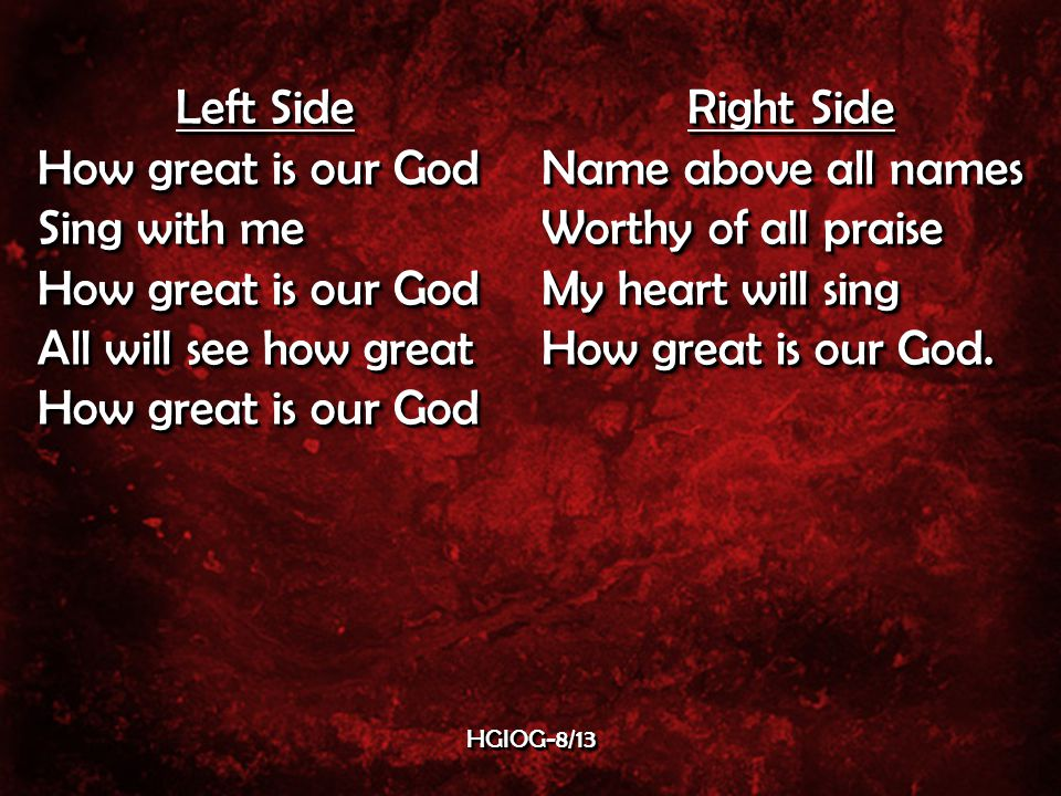 Right Side Name above all names Worthy of all praise My heart will sing How great is our God.