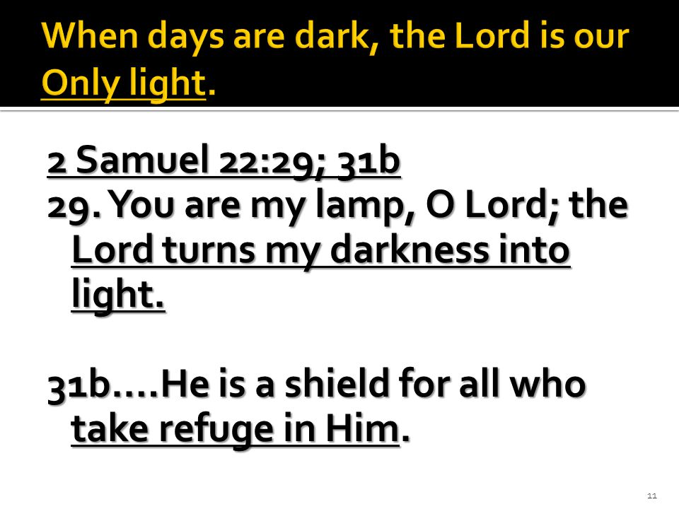 2 Samuel 22:29; 31b 29. You are my lamp, O Lord; the Lord turns my darkness into light.