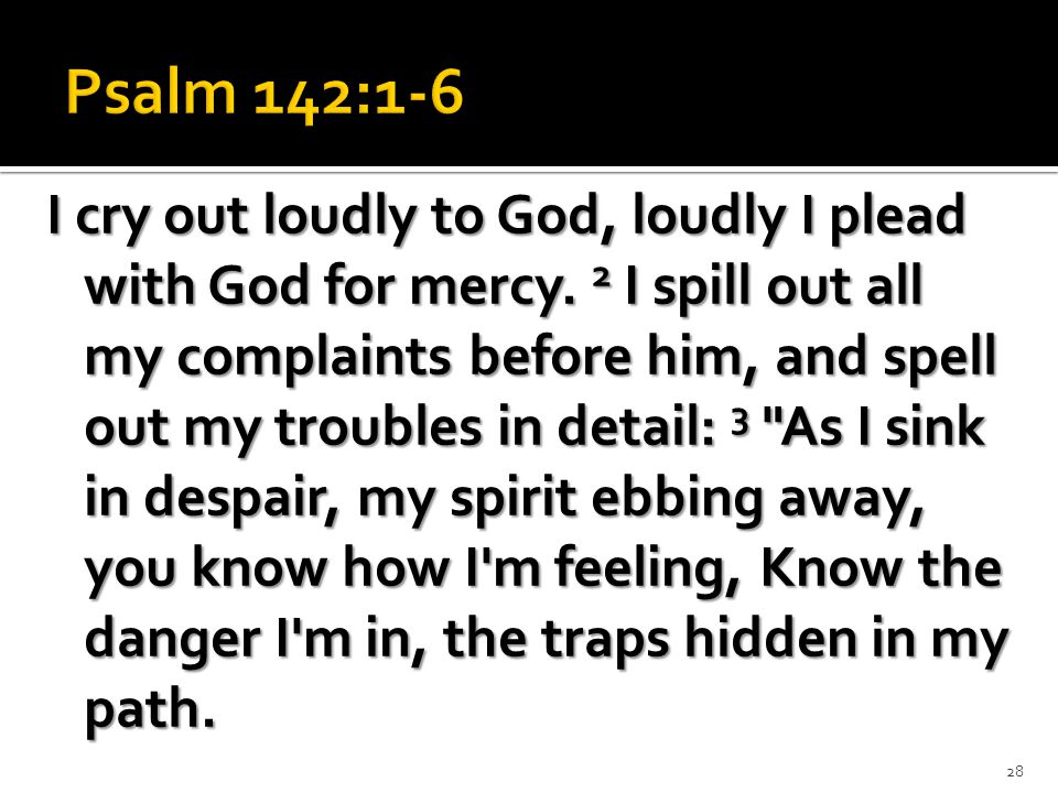 I cry out loudly to God, loudly I plead with God for mercy.
