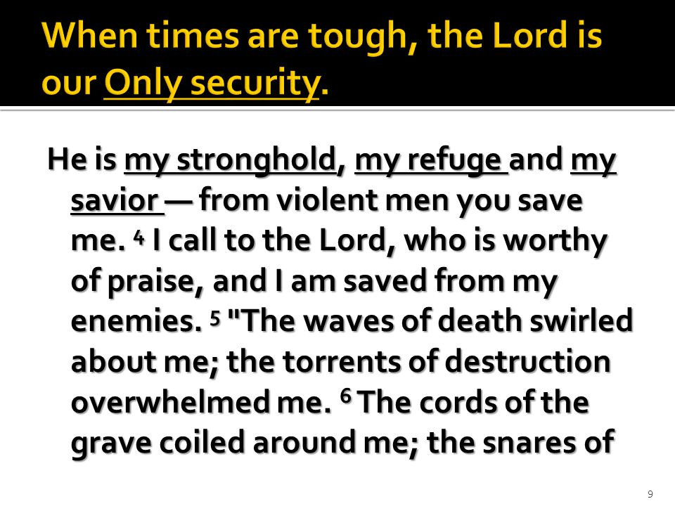 death confronted me.7 In my distress I called to the Lord; I called out to my God.