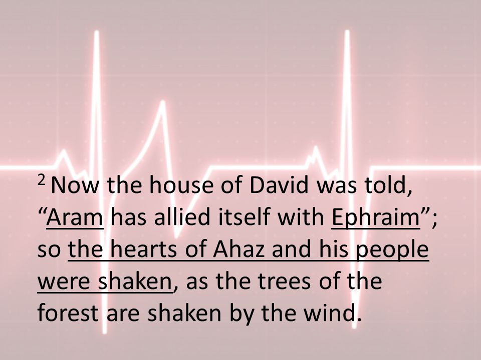2 Now the house of David was told, Aram has allied itself with Ephraim ; so the hearts of Ahaz and his people were shaken, as the trees of the forest are shaken by the wind.
