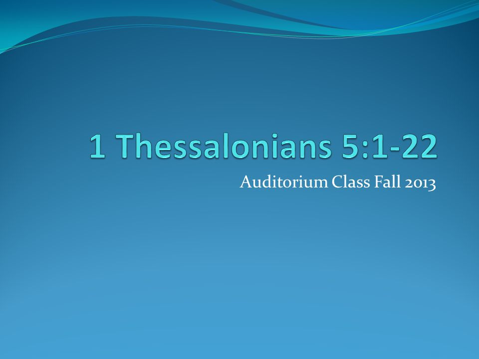Auditorium Class Fall 2013