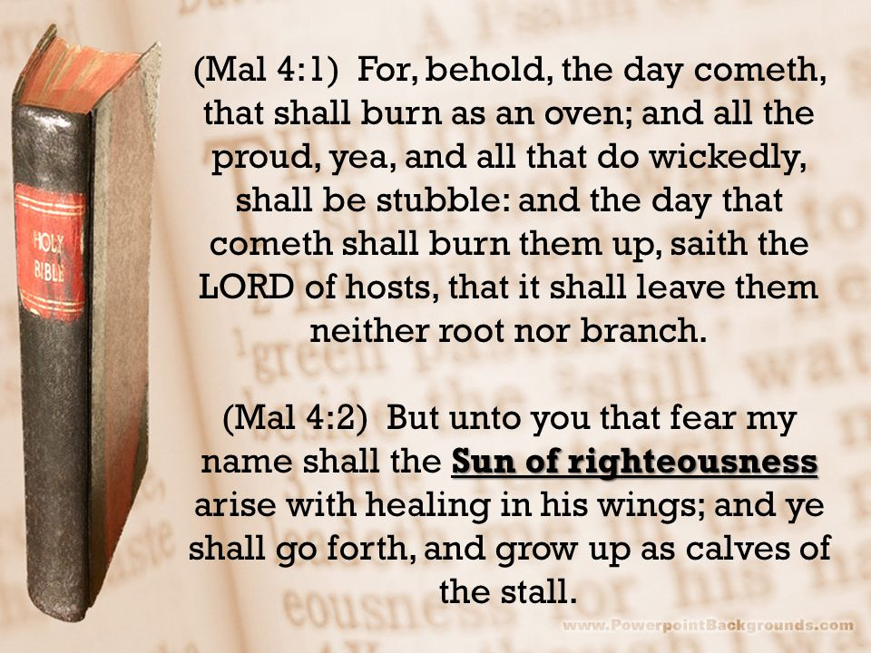(Mal 4:1) For, behold, the day cometh, that shall burn as an oven; and all the proud, yea, and all that do wickedly, shall be stubble: and the day tha