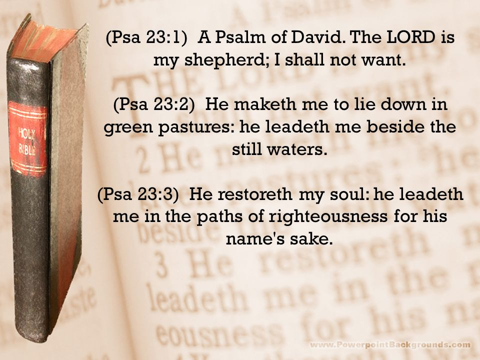 (Psa 23:1) A Psalm of David. The LORD is my shepherd; I shall not want. (Psa 23:2) He maketh me to lie down in green pastures: he leadeth me beside th
