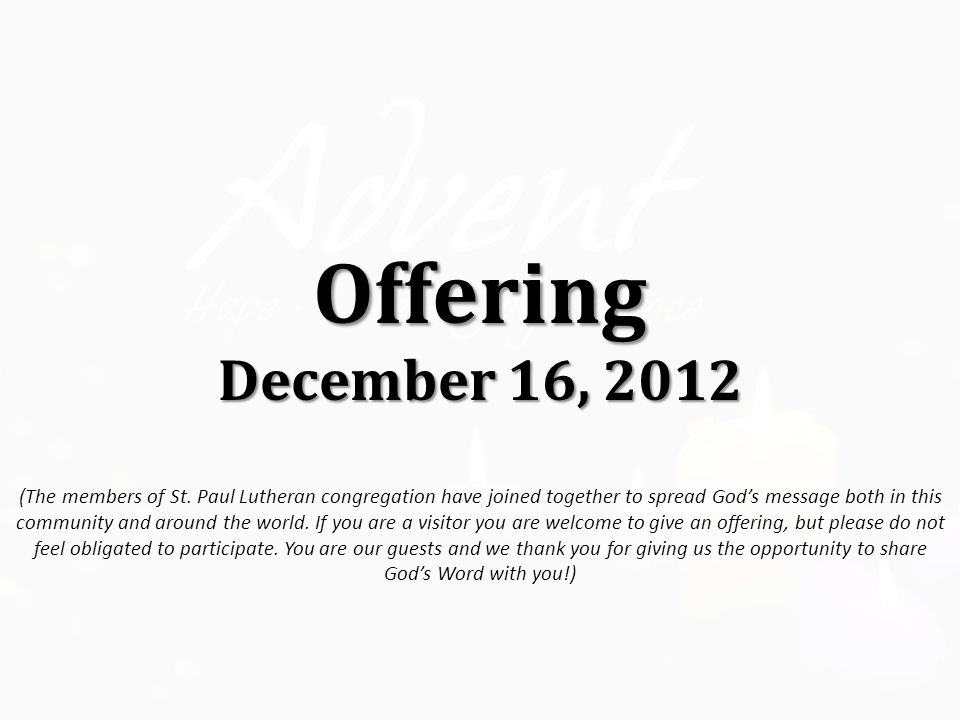 Offering December 16, 2012 (The members of St.