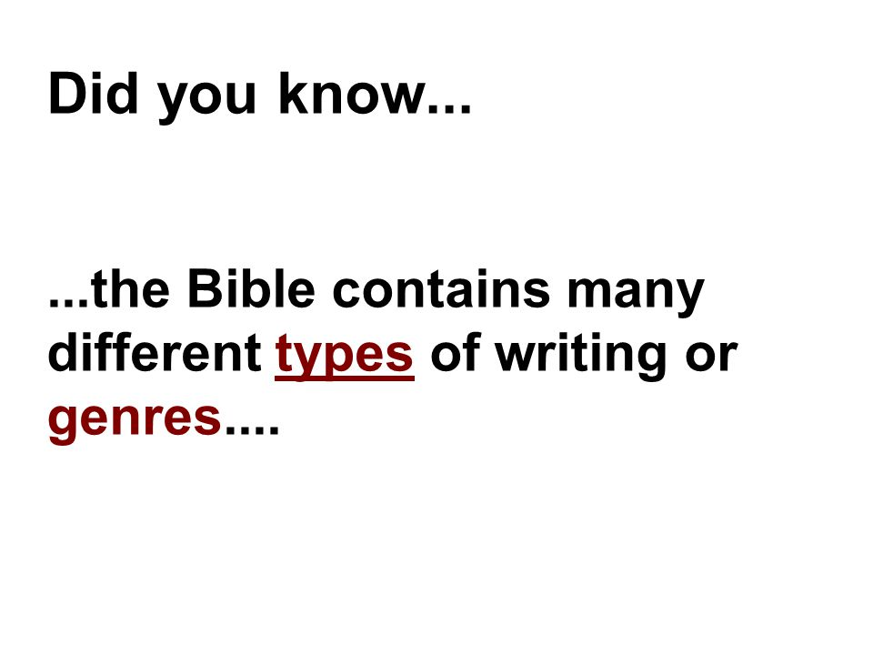 Did you know......the Bible contains many different types of writing or genres....